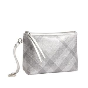 Burberry Silver Sparkly Cosmetic Bag